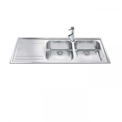 Smeg LE116S Top Mount 2-Bowl Stainless Steel Sink with (Left Drainer)