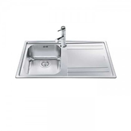 Smeg LE861D Top Mount 1-Bowl Stainless Steel Sink with (Right Drainer)