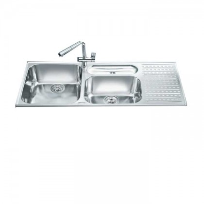 Smeg LTS1163D-2 Top Mount 1 3/4-Bowl Stainless Steel Sink with (Right Drainer)