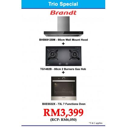 Brandt  Package BHB6912BM Cooker Hood + TG1482B 2-Burner Gas Hob + BXE5532X Oven