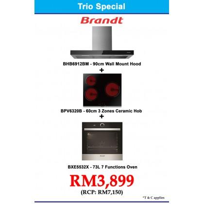 Brandt  Package BHB6912BM Cooker Hood + BPV6320B 3-Cooking Zone Vitroceramic Hob + BXE5532X Oven