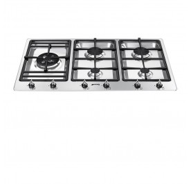 Smeg PS906-5 Stainless Steel, 5-Burner Gas Hob